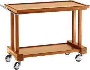 LP1000 Carrello servizio legno massello tinto noce 2 piani 115x55x82h