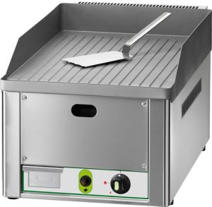 FRY1RMC Fry top a gas da banco piano singolo rigato acciaio cromato