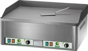 FRY2LC Fry top elettrico da banco trifase 6000W doppio piano liscio acciaio cromato