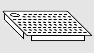 EU91101-06 Falsofondo in acciaio inox forato a destra dim. Cm 60x50 per vasche