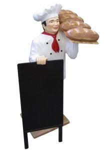 ER005B Cuoco con pane tridimensionale alto 140 cm