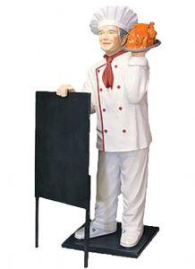 ER005D Cuoco con pollo tridimensionale alto 140 cm