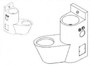 LX3660 Blocco Professionale combinato WC con lavabo - versione Sinistra - lucido