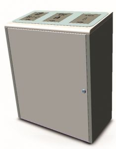 T789075 Stainless steel recycling waste bin 3x40 liters