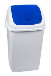 T909055 Pattumiera polipropilene bianca con coperchio basculante blu 50 litri (multipli 6 pz)