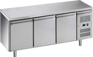 G-GN3100BT-FC Tavolo refrigerato ventilato in acciaio inox AISI201, 3 porte,  -18 -22C°