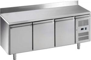 G-GN3200TN-FC Tavolo refrigerato ventilato, con alzatina, temp. -2 / +8 °C, telaio Inox AISI 201