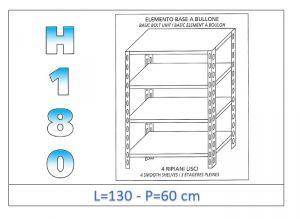 IN-1846913060B Scaffale a 4 ripiani lisci fissaggio a bullone dim cm 130x60x180h