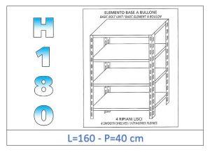 IN-1846916040B Scaffale a 4 ripiani lisci fissaggio a bullone dim cm 160x40x180h