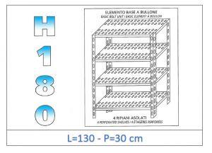 IN-1847013030B Scaffale a 4 ripiani asolati fissaggio a bullone dim cm 130x30x180h