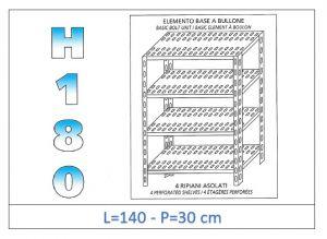 IN-1847014030B Scaffale a 4 ripiani asolati fissaggio a bullone dim cm 140 x30x180h