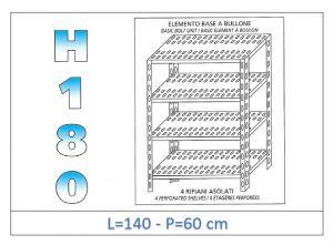 IN-1847014060B Scaffale a 4 ripiani asolati fissaggio a bullone dim cm 140x60x180h