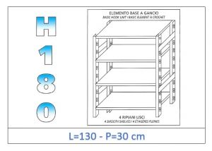 IN-18G46913030B Scaffale a 4 ripiani lisci fissaggio a gancio dim cm 130x30x180h