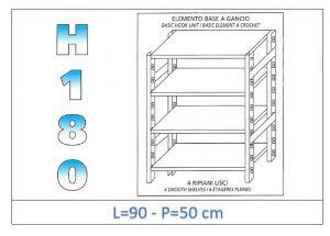IN-18G4699050B Scaffale a 4 ripiani lisci fissaggio a gancio dim cm 90x50x180h