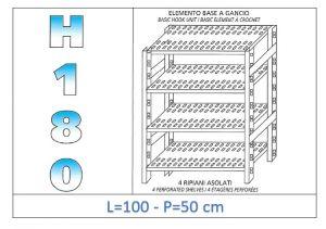 IN-18G47010050B Scaffale a 4 ripiani asolati fissaggio a gancio dim cm 100x50x180h