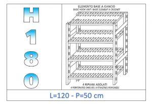 IN-18G47012050B Scaffale a 4 ripiani asolati fissaggio a gancio dim cm 120x50x180h