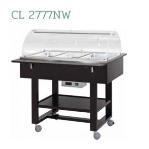 CL2777NW Carrello in legno termico bagnomaria (+30°+90°C) 3x1/1GN cupola plx Wengé