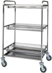 TCA 1400 S.steel dish glass drying rack trolley 2 shelves for dish 1 shelve glass draining
