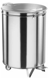 TAV 4668 Stainless steel waste bin with lid and wheels 100 liters with pedal
