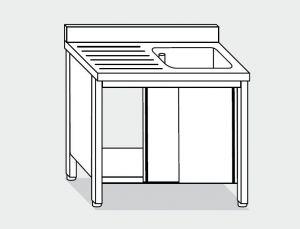 EU01602-10 lavatoio armadio ECO cm 100x60x85h  1 vasca e sg sx - porte scorrevoli