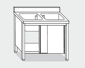 EU01710-13 lavatoio armadio ECO cm 130x70x85h  2 vasche - porte scorrevoli