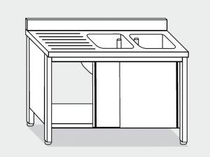 EU01712-14 lavatoio armadio ECO cm 140x70x85h  2 vasche e sg sx - porte scorrevoli