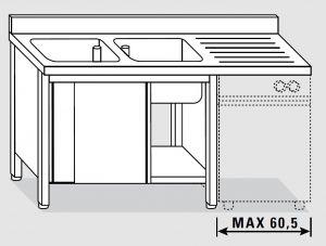 EU01911-20 lavatoio armadio per lavast. ECO cm 200x60x85h  2v e sg dx - porte scorrevoli