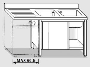 EU01962-20 lavatoio armadio per lavast. ECO cm 200x70x85h  2v e sg sx - porte scorrevoli