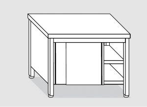 EU03200-19 tavolo armadio ECO cm 190x60x85h  piano liscio - porte scorrevoli