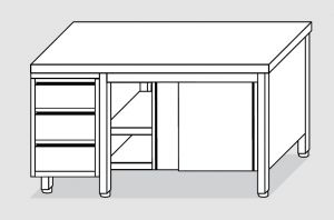 EU04002-15 tavolo armadio ECO cm 150x60x85h  piano liscio - porte scorr - cass 3c sx
