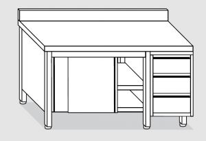 EU04003-16 tavolo armadio ECO cm 160x60x85h  piano alzatina - porte scorr - cass 3c dx