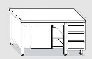 EU04101-22 tavolo armadio ECO cm 220x70x85h  piano liscio - porte scorr - cass 3c dx
