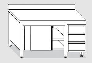 EU04103-15 tavolo armadio ECO cm 150x70x85h  piano alzatina - porte scorr - cass 3c dx