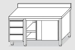 EU04104-22 tavolo armadio ECO cm 220x70x85h  piano alzatina - porte scorr - cass 3c sx
