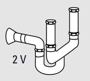 """EU91001-00 Sifone in plastica per lavelli da 2 vasche  da 1"""" - 1/2"""