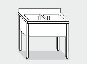 EUG1136-12 lavatoio su gambe ECO cm 120x60x85h 2 vasche