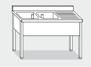 EUG1147-20 lavatoio su gambe ECO cm 200x70x85h 2v sg dx