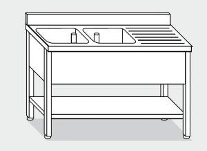EUG1246-18 lavatoio su gambe ECO cm 180x60x85h 2v sg dx -ripiano inferiore