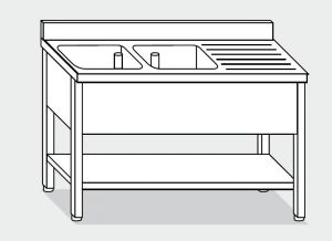 EUG1247-18 lavatoio su gambe ECO cm 180x70x85h 2v sg dx -ripiano inferiore