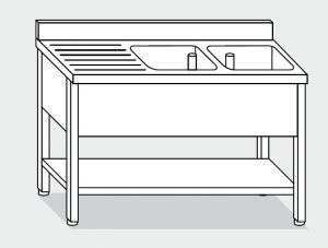 EUG1256-18 lavatoio su gambe ECO cm 180x60x85h 2v sg sx -ripiano inferiore