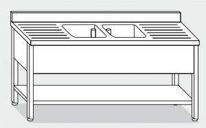 EUG1266-19 lavatoio su gambe ECO cm 190x60x85h 2v 2 sg -ripiano inferiore