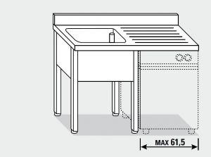 EUG1316-13 lavatoio per lavast su gambe ECO cm 130x60x85h 1v sg dx