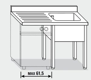 EUG1327-14 lavatoio per lavast su gambe ECO cm 140x70x85h 1v sg sx