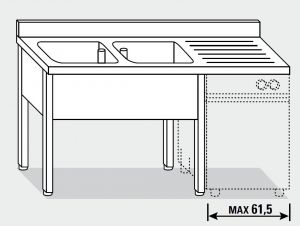 EUG1346-18 lavatoio per lavast su gambe ECO cm 180x60x85h 2v sg dx