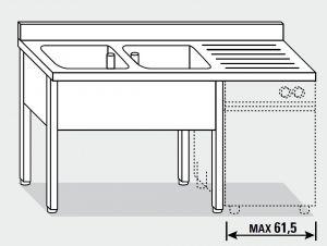 EUG1346-20 lavatoio per lavast su gambe ECO cm 200x60x85h 2v sg dx