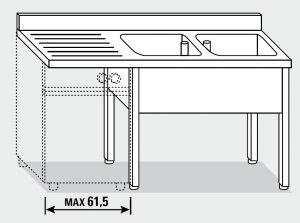 EUG1356-16 lavatoio per lavast su gambe ECO cm 160x60x85h 2v sg sx