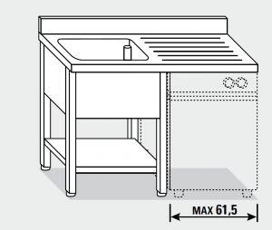 EUG1416-14 lavatoio per lavast. su gambe ECO cm 140x60x85h 1v sg dx - ripiano inferiore