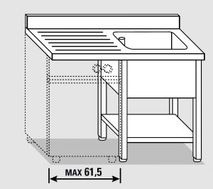 EUG1427-13 lavatoio per lavast.su gambe ECO cm 130x70x85h 1v sg sx - ripiano inferiore