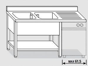 EUG1446-20 lavatoio per lavast. su gambe ECO cm 200x60x85h 2v sg dx - ripiano inferiore