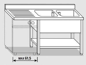 EUG1456-16 lavatoio per lavast. su gambe ECO cm 160x60x85h 2v sg sx - ripiano inferiore